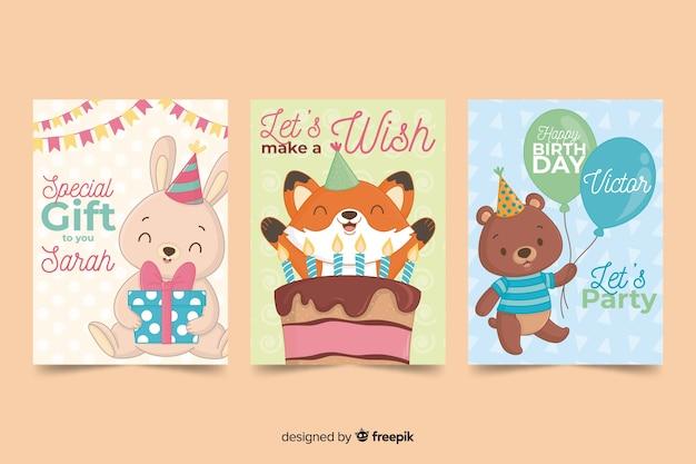 Collection De Cartes D'anniversaire Dans Un Style Dessiné à La Main Vecteur gratuit