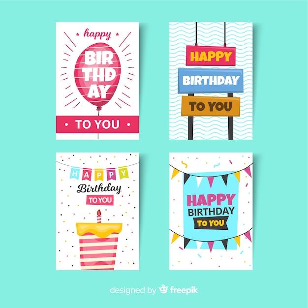 Collection de cartes d'anniversaire dans un style plat Vecteur gratuit