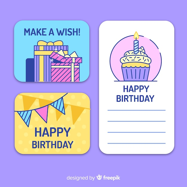 Collection de cartes d'anniversaire design plat Vecteur gratuit