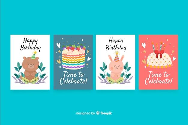 Collection de cartes d'anniversaire design plat Vecteur gratuit