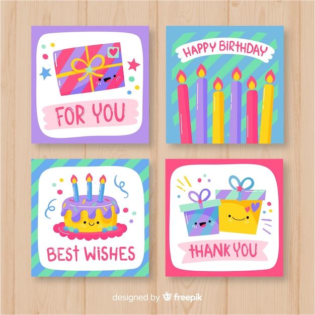 Collection de cartes d'anniversaire dessinées à la main Vecteur gratuit