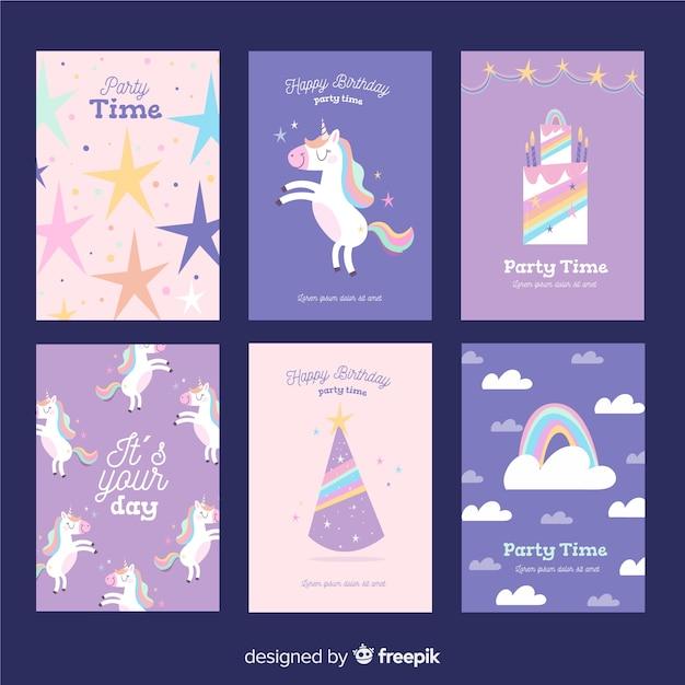 Collection de cartes d'anniversaire licorne Vecteur gratuit