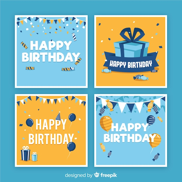 Collection de cartes d'anniversaire plates Vecteur gratuit
