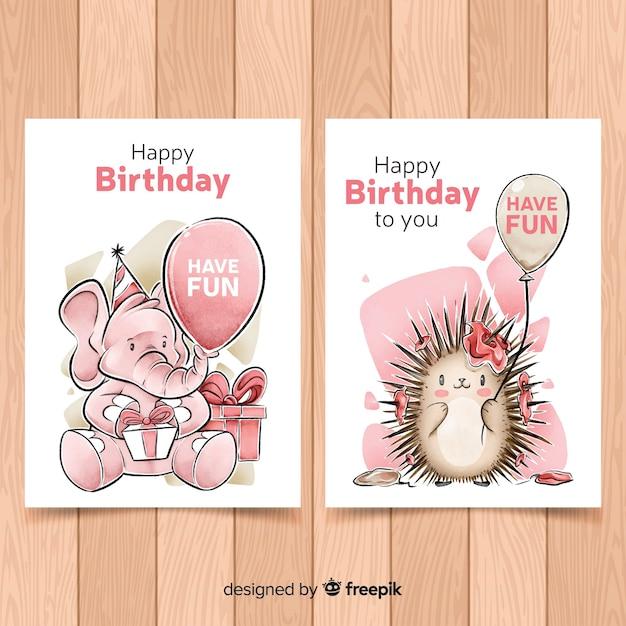 Collection de cartes d'anniversaire de style aquarelle Vecteur gratuit