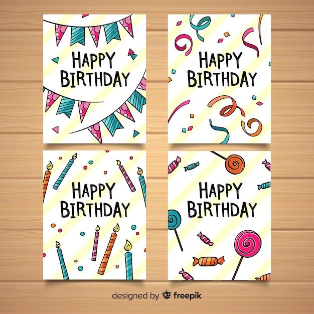 Collection de cartes d'anniversaire Vecteur gratuit