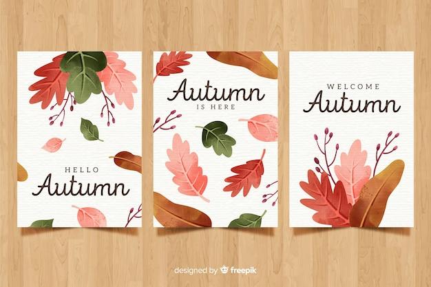 Collection de cartes automne aquarelle Vecteur gratuit