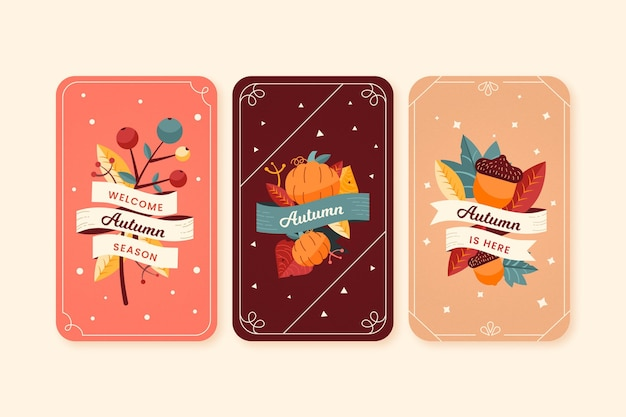 Collection De Cartes Automne Design Plat Vecteur gratuit