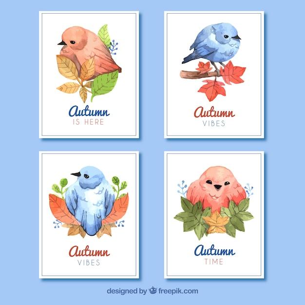 Collection de cartes d'automne avec des oiseaux Vecteur gratuit