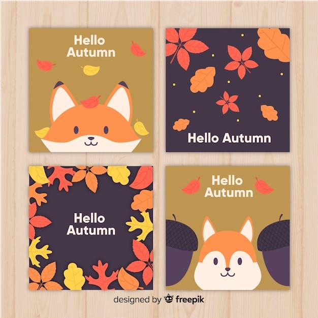Collection de cartes d'automne plat Vecteur gratuit