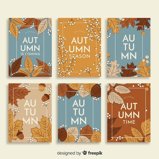 Collection de cartes d'automne vintage Vecteur gratuit