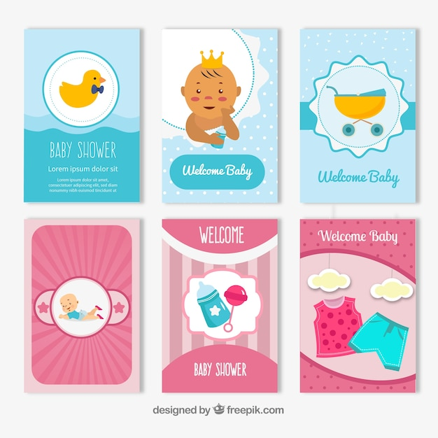 Collection de cartes bébé dans un style dessiné à la main Vecteur gratuit