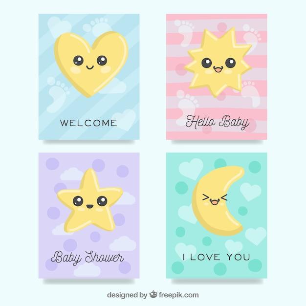Collection de cartes bébé avec des dessins animés mignons Vecteur gratuit