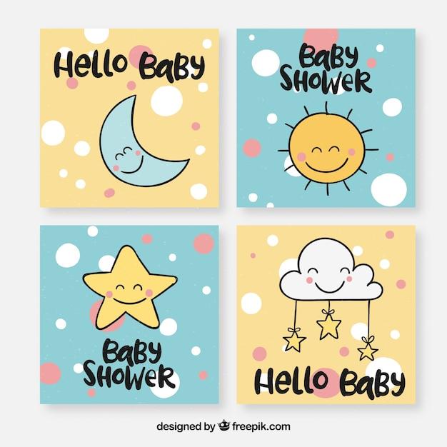 Collection de cartes bébé avec des éléments mignons Vecteur gratuit