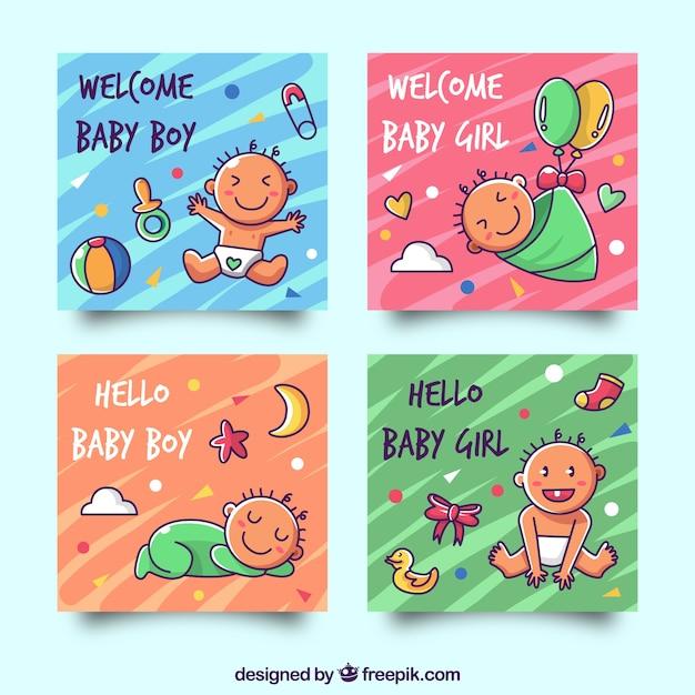 Collection de cartes avec des bébés mignons Vecteur gratuit