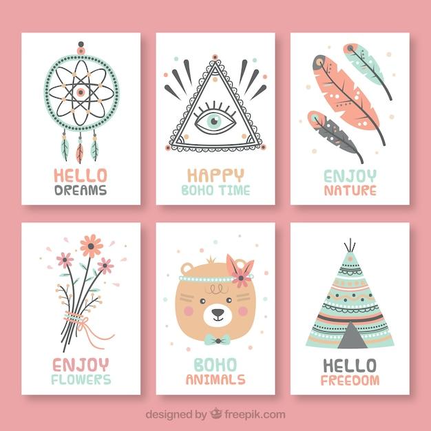 Collection de cartes boho dans un style dessiné à la main Vecteur gratuit