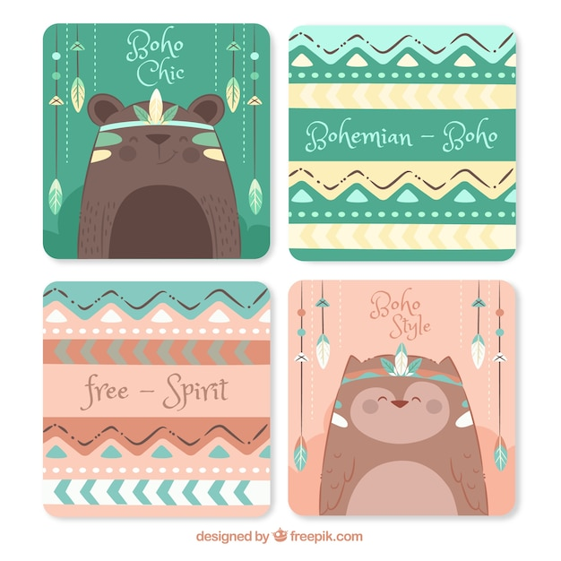 Collection de cartes boho dans un style dessiné à la main Vecteur gratuit