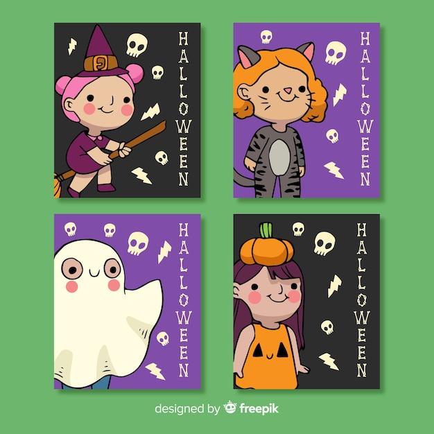 Collection de cartes de costume de halloween dessinés à la main Vecteur gratuit