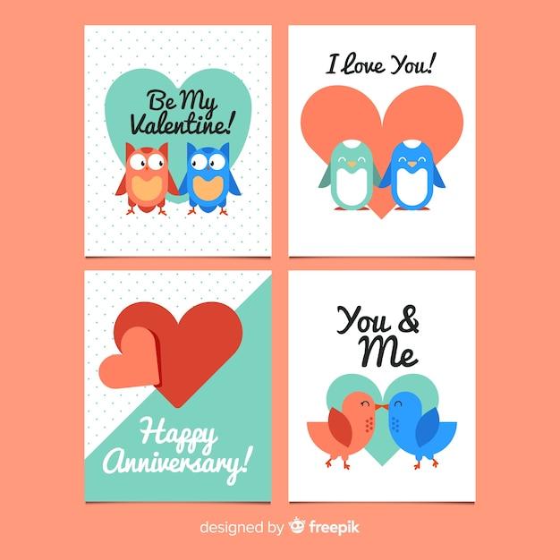 Collection de cartes de couple animal valentine Vecteur gratuit