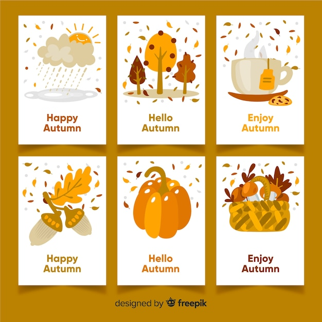 Collection de cartes design automne Vecteur gratuit