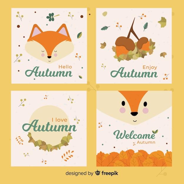 Collection de cartes design automne Vecteur gratuit