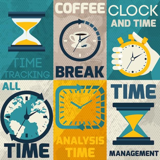Collection de cartes avec différents types d'horloges Vecteur gratuit