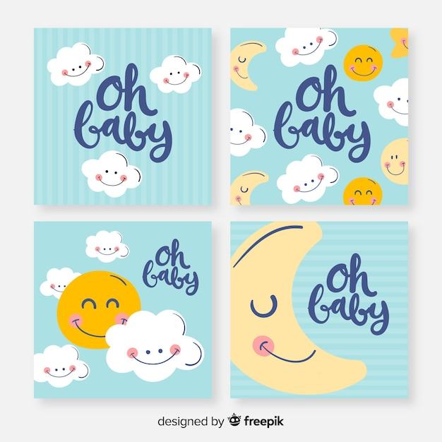 Collection de cartes de douche de bébé belle dessinés à la main Vecteur gratuit