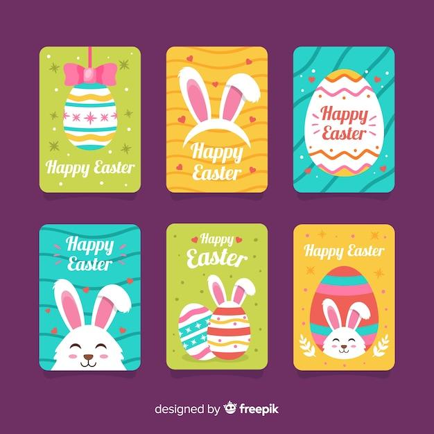 Collection de cartes du jour de pâques Vecteur gratuit