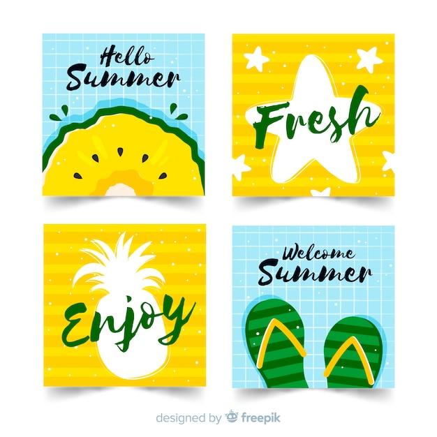 Collection de cartes d'été dessinées à la main Vecteur gratuit