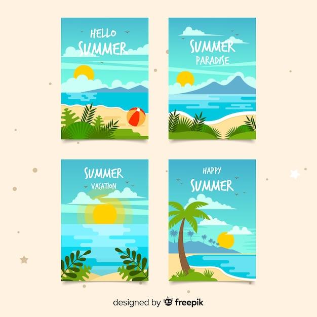 Collection de cartes d'été plat Vecteur gratuit