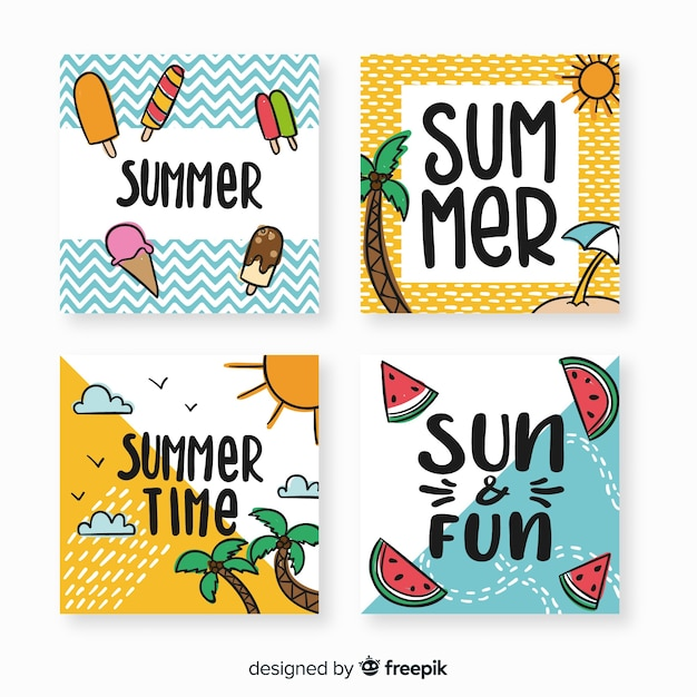 Collection de cartes d'été Vecteur gratuit