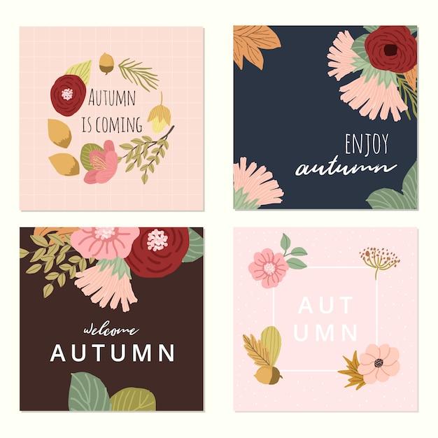Collection De Cartes Florales Automne Vecteur Premium