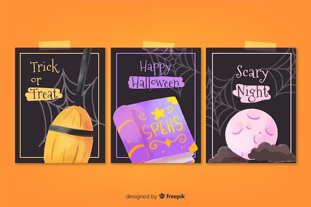 Collection De Cartes Halloween Aquarelle Vecteur gratuit