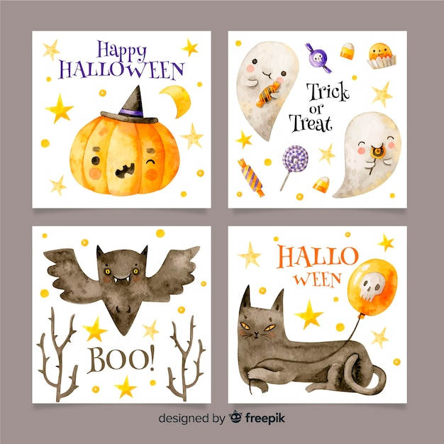 Collection de cartes halloween aquarelle Vecteur gratuit