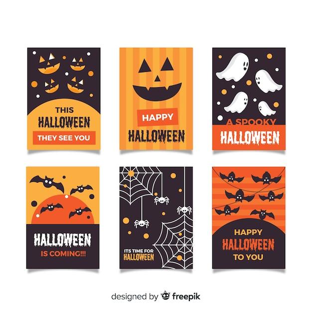 Collection de cartes halloween au design plat Vecteur gratuit