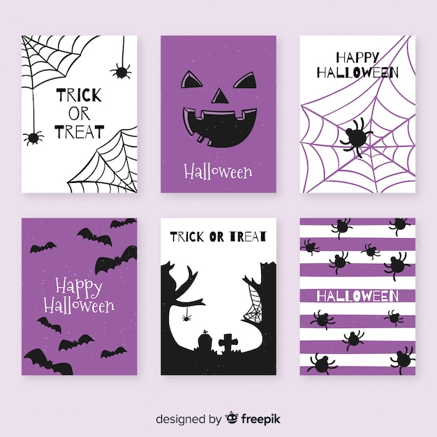 Collection de cartes halloween dessinée à la main Vecteur gratuit