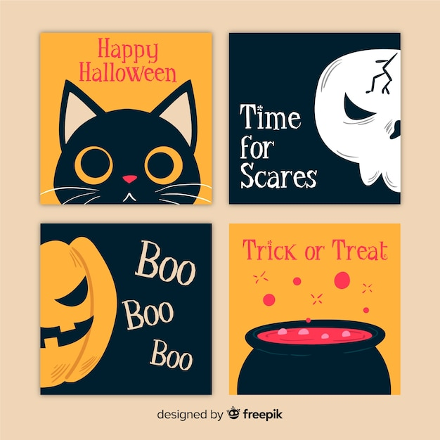Collection de cartes halloween dessinée à la main Vecteur gratuit