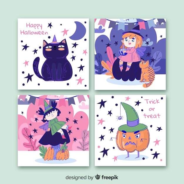 Collection de cartes halloween dessinée à la main Vecteur Premium