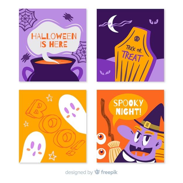 Collection de cartes de halloween dessinés à la main avec une variété de symboles Vecteur gratuit