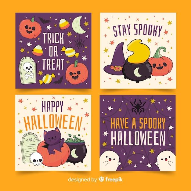 Collection de cartes halloween fantômes et citrouilles Vecteur gratuit