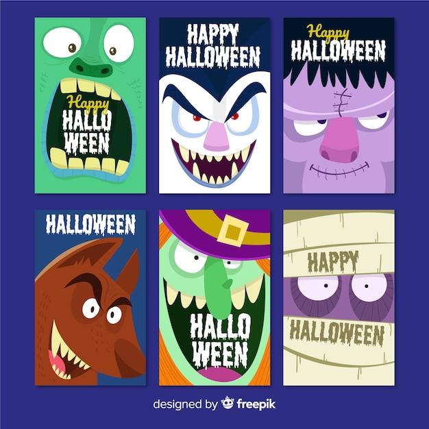 Collection de cartes d'halloween avec des monstres rigolos Vecteur gratuit