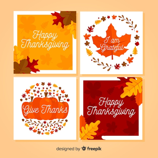 Collection de cartes happy thanksgiving au design plat Vecteur gratuit