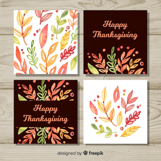 Collection de cartes happy thanksgiving day dans un style aquarelle Vecteur gratuit