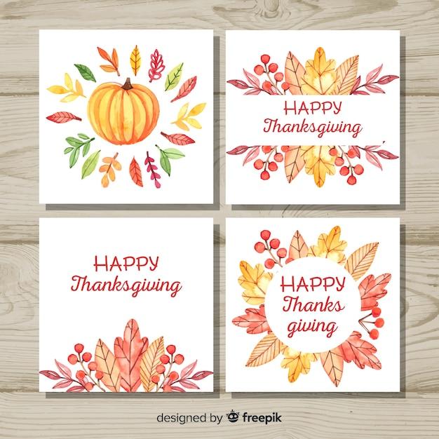 Collection de cartes happy thanksgiving day dans un style aquarelle Vecteur gratuit