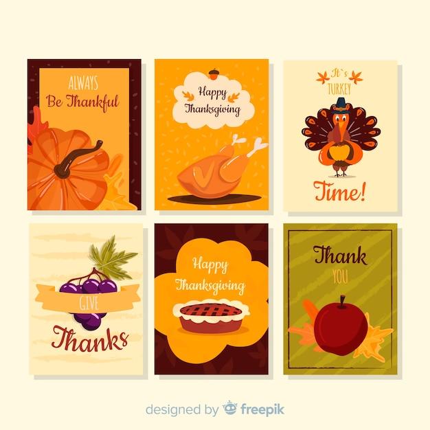 Collection de cartes happy thanksgiving day style dessiné à la main Vecteur gratuit