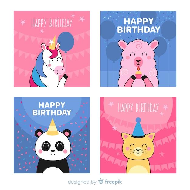 Collection de cartes d'invitation anniversaire Vecteur gratuit
