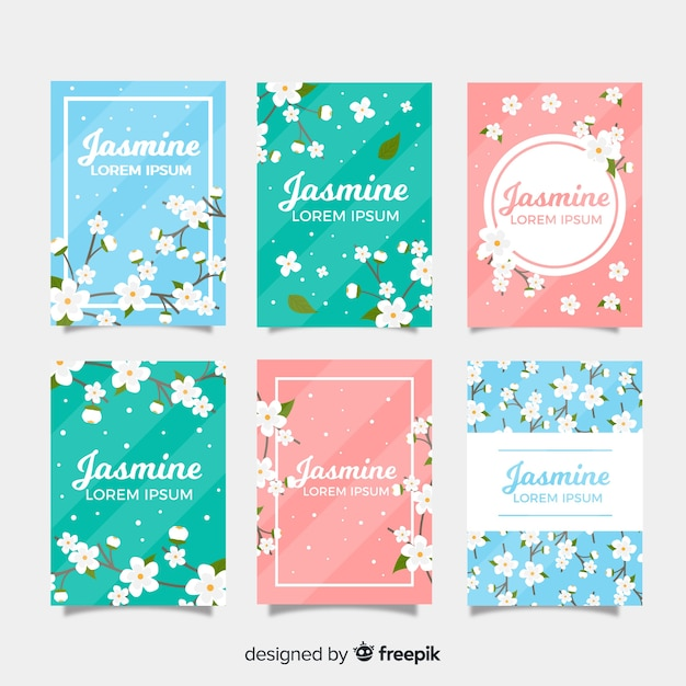 Collection de cartes de jasmin Vecteur gratuit