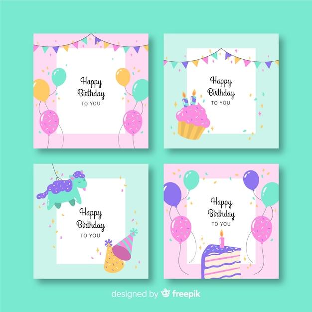 Collection de cartes de joyeux anniversaire Vecteur gratuit