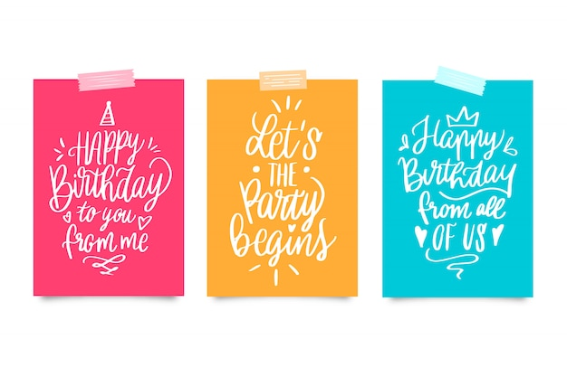 Collection De Cartes De Lettrage Joyeux Anniversaire Vecteur gratuit