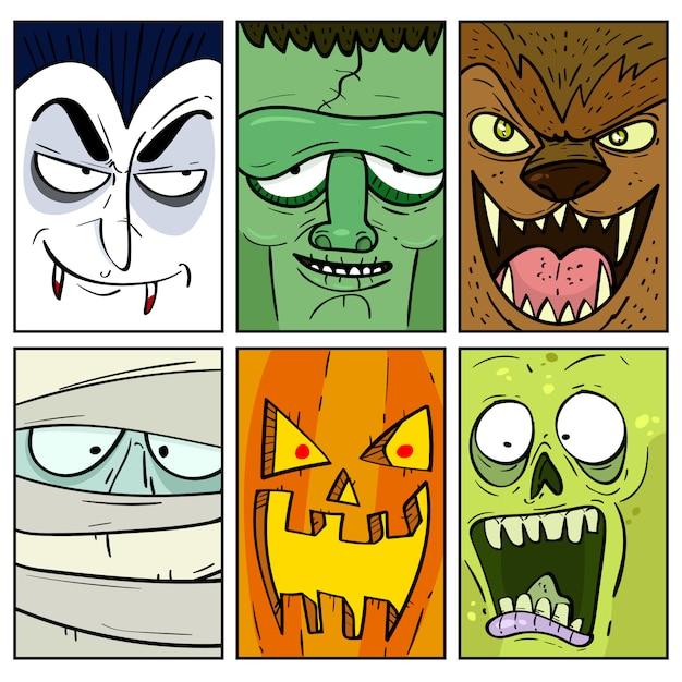 Collection de cartes de monstre halloween dessinés à la main Vecteur Premium