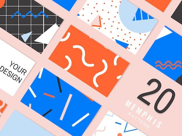 Collection de cartes à motif memphis Vecteur gratuit